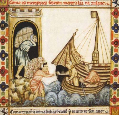 Comercio en el puerto de Cartagena. Cántigas de Santa Marçia de Alfonso X el Sabio