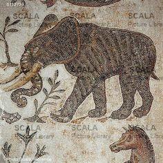 Elefante en un mosaico romano del Museo del Bardo (Túnez)
