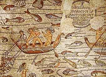 Mosaico paleocristiano. Escena de la Basílica de Aquilea.