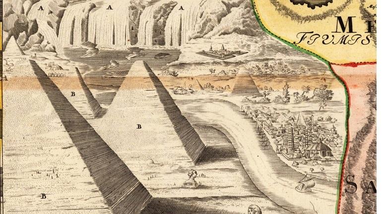 Las pirámides en un mapa de 1740