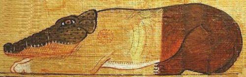Imagen de Ammyt extraída de las paredes de una priámide