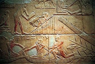 Escena de pesca en una mastaba de la VI dinastía