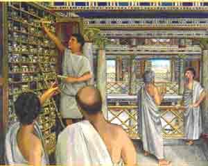 Recreación de una sala de la antigua Biblioteca de Alejandría