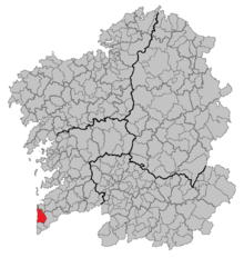 Situación de Oia en Galicia (España)