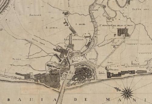 Detalle de un plano de Manila de 1819 (BDH)