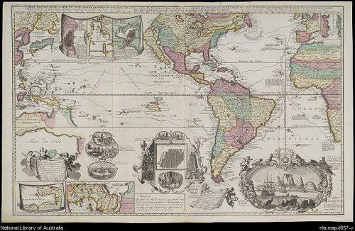 Carta profusamente ilustrada, de finales del siglo XVIII, representando el Pacífico en primer plano