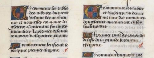 Detalle de la página inicial de la crónica del siglo XV