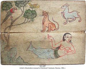 Sirena en un manuscrito birmano del s. XVIII.