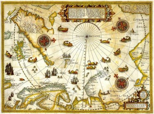 Un precioso mapa del Ártico levantado por Barents, a finales del siglo XVI