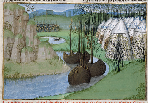 El campamento de Brutus (Fuente British Library, Royal 15 E IV f. 36)