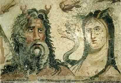 Oceano y Tetis, los dioses del mar. Fuente: Museo del Bardo (Túnez)