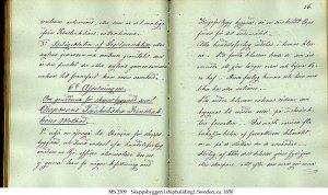 Libro sobre construcción naval, en sueco. S. XIX.