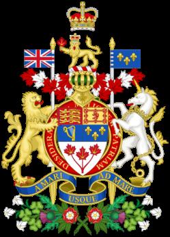 Escudo de Canadá. Se puede leer en latín el lema con fuerte implicación marítima.