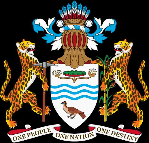 Escudo de Guyana. El mar parece en forma de ondas en el centro del emblema