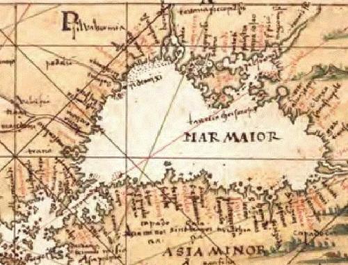 El Mar Negro, que aparece como Mar Mayor
