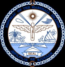 Emblema de las Islas Marshall, en donde se puede apreciar una carta náutica en el agua