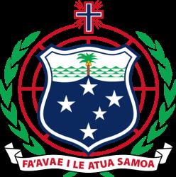 Escudo de Samoa, que también incluye, aparte d de la cruz del Sur, al proyección azimutal