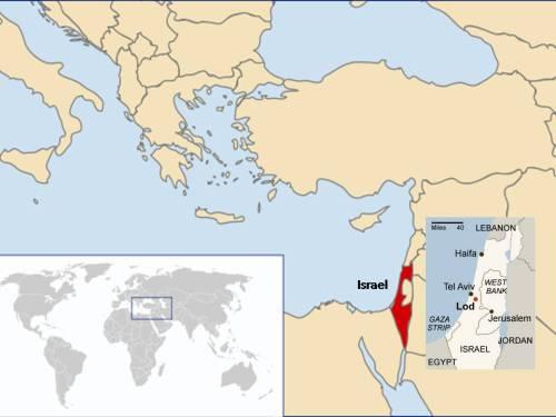 En esta imagen compuesta se puede localizar primero Israel en el planisferio terrestre y dentro la ciudad de Lod