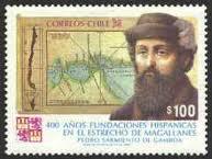 Sarmiento de Gamboa inmortalziado en un sello