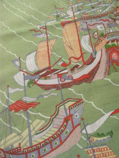 Kimono que contiene un barco japonés