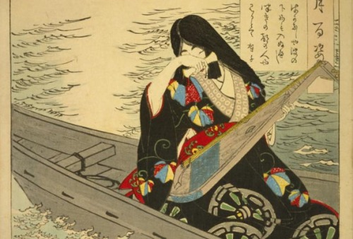 ¡Cuánta desesperanza! / sería mejor hundirme en las olas / tal vez, entonces, podría ver a mi hombre de la capital de la luna - Ariko