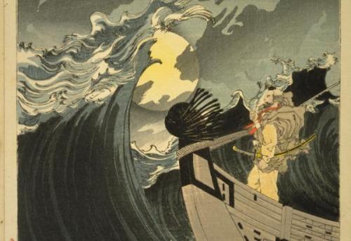lunaosbre el mar en la bahía de Daimotsu - Benkei