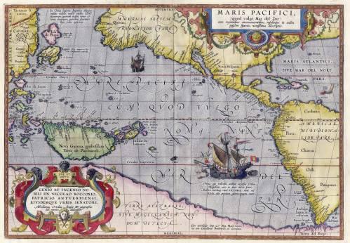 El inmenso Mar del Sur, hoy Oceáno pacífico en una mapa del siglo XVI, de A, Ortelius.