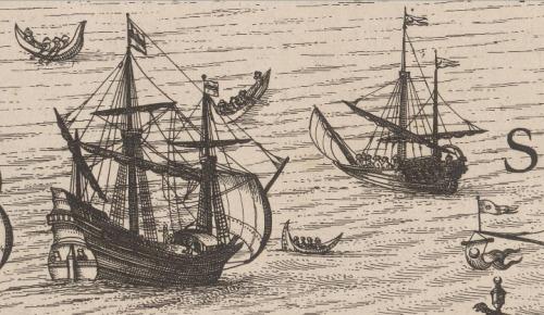 Detalle de unos buques en el puerto de Constantinopla