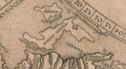 las actuales Gran Bretaña e irlanda, representadas como Albion e ibernia