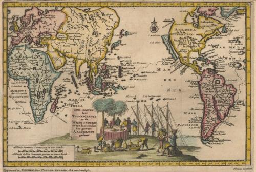 Mapa del O Pacífico de 1707 en el que Australia no aparece. Fuente