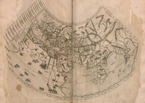 Mapa de todo el orbe conocido en la época de Ptolomeo