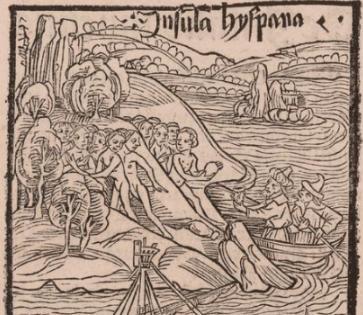 Amplicación d ela primera imagen, donde aparece Colón llegando a tierras americanas