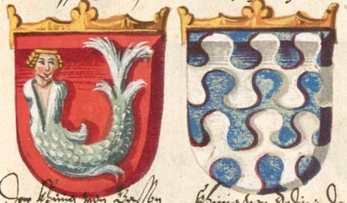 Escudois heráldicos d elos reinos dle Preste Juan, según el Armorial de Conrad Grunenberg