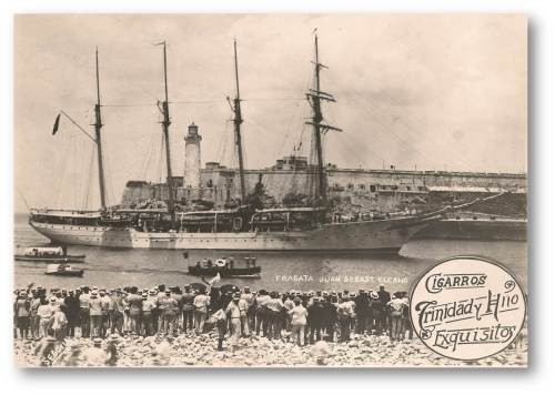Visita a La Habana del Buque Escuela J.S. Elcano durante su viaje de la vuelta al mundo en 1929 (Colección Juan Escrigas)