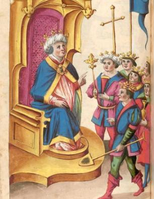Dibujo d ela corte dle Preste Juan en el armorial de Conrad Grunenberg