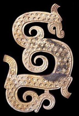 Un dragón representado en un antiguo pendiente chino del siglo IV antes de C.