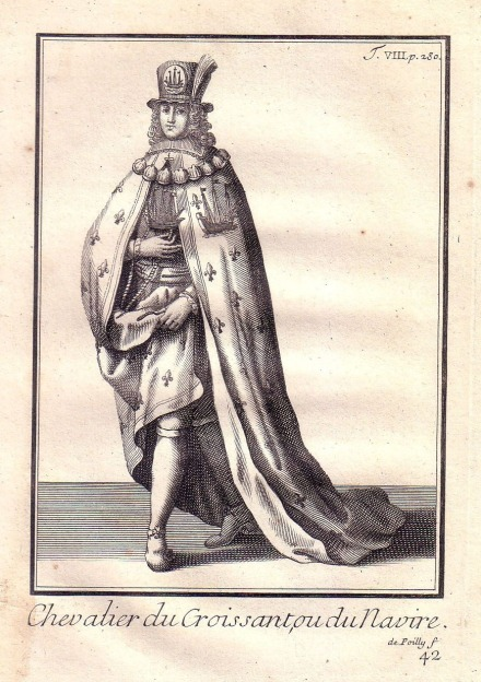Un antiguo dibujo de un caballero de la orden de la Nave