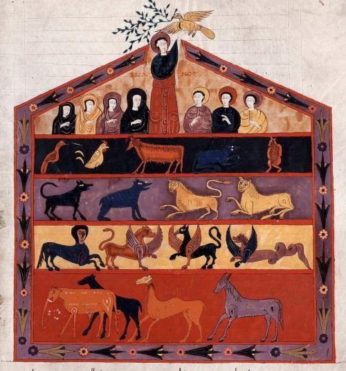 Ilustración sobre el arca de Noé sin que aparezca ninguna nave.