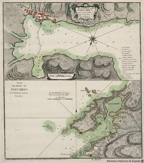 Plano de la Bahía y Ciudad de Portobelo, conforme al que publicaron D. Jorge Juan y D. Antonio de Ulloa, en su Relación de la América Meridional [Tomás López]