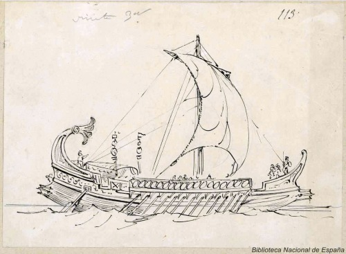 Resultado de imagen para nave antigua de vela latina y remo