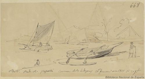 Canoas de Tahití. Fuente. BDH