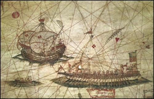 Una galera y una carabela portuguesas, dibujadas en un portulano