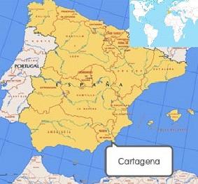 Localización de Cartagena en el mapa de España