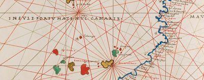 Las islas Canarias y arriba Madeira en el atlas de Agnese