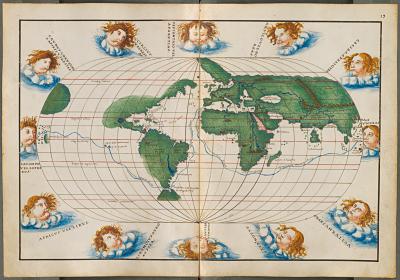 Mapa mundi con las rutas de Magallanes y Pizarro