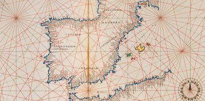 Carta de Agnese representando la Península Ibérica y parte del norte de África