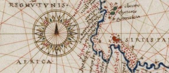 Una preciosa rosa de los vientos renacentista en el atlas de Agense