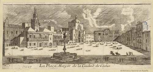 Dibujo de la gran plaza de Cádiz al inicio del siglo XVIII. Fuente.