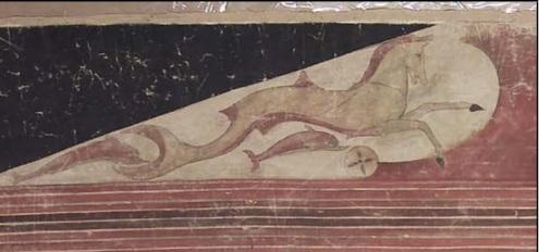 Hipocampo en la tumba del año 510 a. C. Taquinia. Museo de Boston