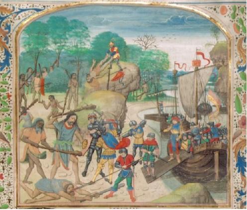 desembarco y batalla con slavajes